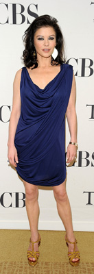 Catherine Zeta-Jones Wears Blue Draped Dress at 2010 Tony Awards Meet the Nominees Press Reception