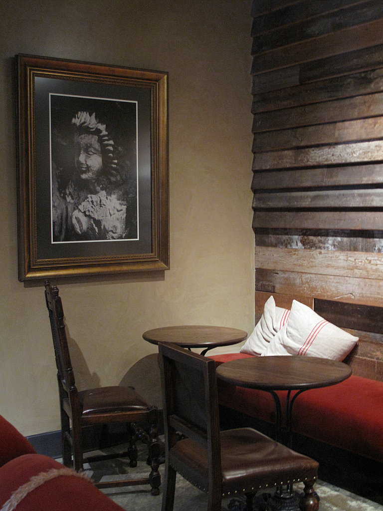 A cozy nook in the corner of a semiprivate space, which can be reserved for meetings and events.