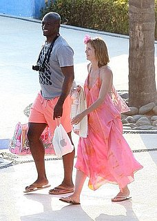 Heidi Klum and Seal in Mexico Wearing Peach Outfits