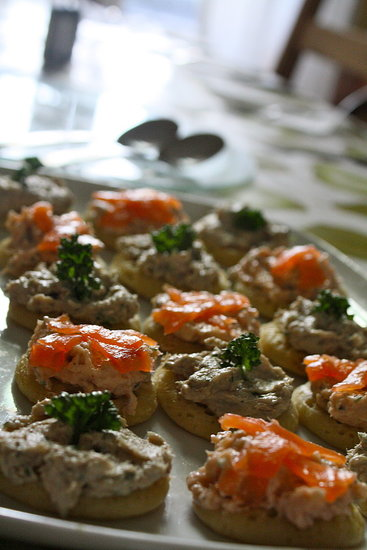 Homemade smoked salmon and mackerel paté blinis.
