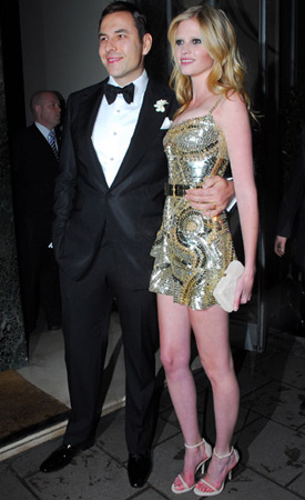 Photo of Lara Stone in Givenchy Mini Dress After Marrying David Walliams at Claridges