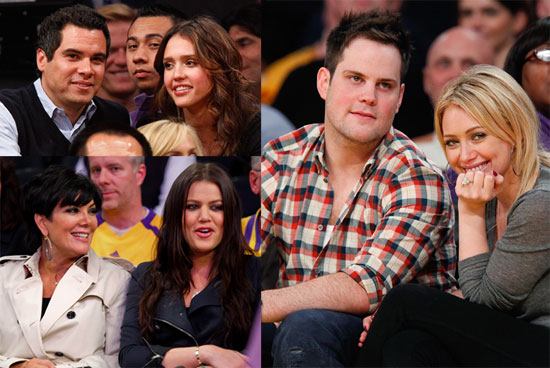 Pictures of Hilary Duff, Mike Comrie, Jessica Alba, and Khloe Kardashian at the LA Lakers Game