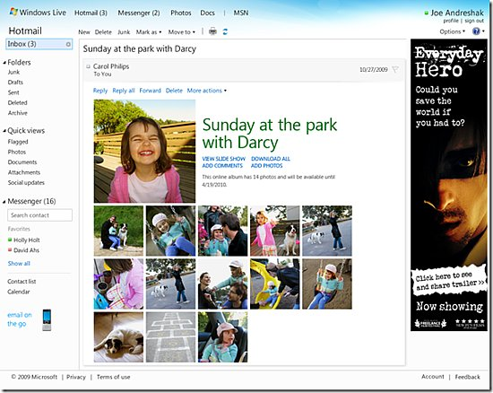 Photos of the New Hotmail Interface