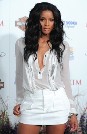 Ciara Wears Versace Chain-Mail Blouse at Maxim Hot 100 Party in LA