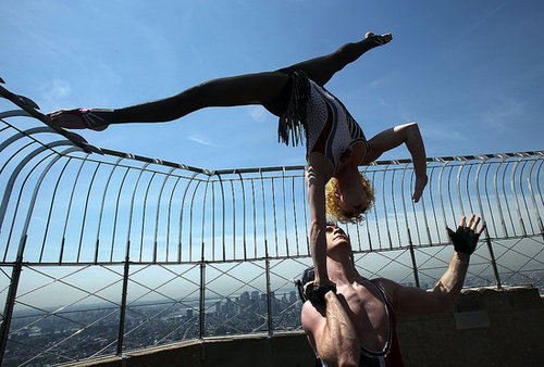 Cirque du Soleil Performers From Banana Shpeel at Empire State Building