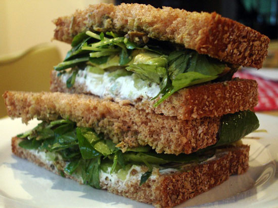 Goat Cheese, Avocado, and Celery Sandwich
