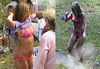Pictures of Jennifer Aniston Wearing a Pink Bikini While Filming Just Go With It in Hawaii