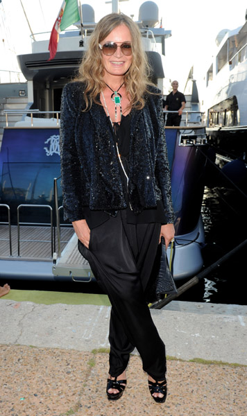 Roberto Cavalli's wife, Eva, worked a complicatedly gorgeous look at Naomi Campbell's birthday bash.