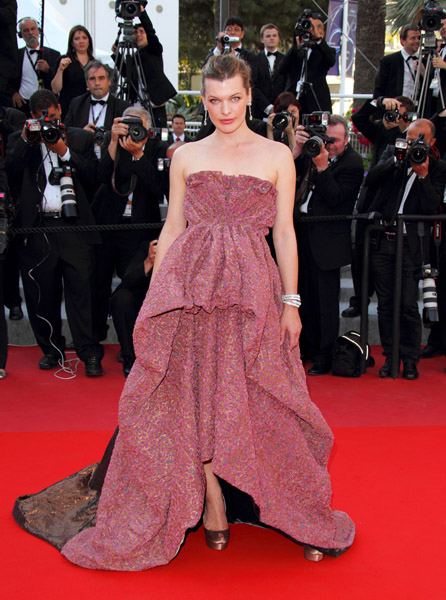 Milla Jovovich opted for a Louis Vuitton Fall '10 gown at the premiere of The Exodus.