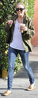 Miley Cyrus in Army Jacket and Loafers