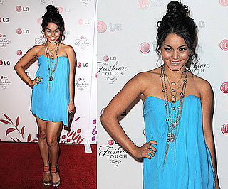 Vanessa Hudgens Wearing Bright Blue Tibi Dress and Jimmy Choo Sandals 2010-05-25 12:00:22