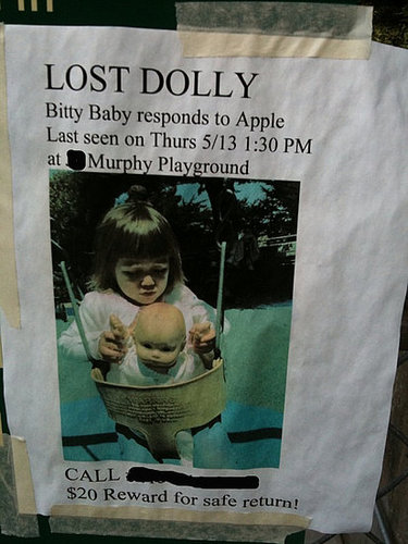 Reward For Missing Bitty Baby