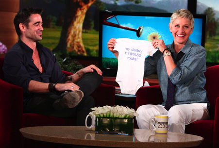 Ellen DeGeneres Gave Colin Farrell a Onesie With Four Letter Word For His Baby