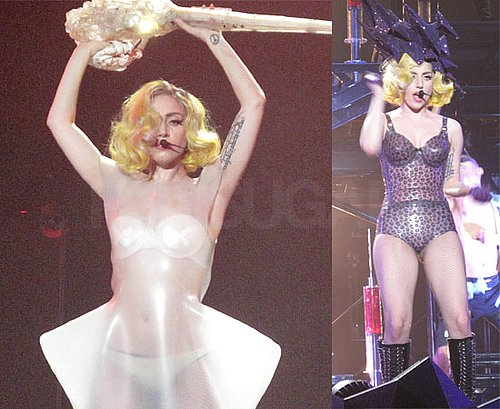 Pictures of Lady GaGa On Stage in Her Skimpy Stage Costumes Including PVC Bikini, Nude Underwear and Swimsuit