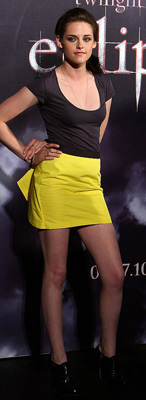 Kristen Stewart Promoting Eclipse in Australia Wearing Yellow Mini Skirt