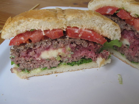 Scallion-and-Brie-Stuffed Burgers