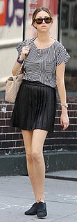 Whitney Port in Striped Top and Pleated Skirt