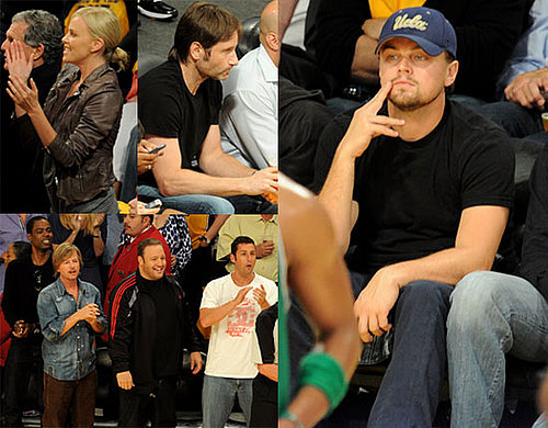Pictures of Charlize Theron, Leonardo DiCaprio, David Duchovny, Adam Sandler, Chris Rock, and Hilary Swank at a Lakers Game 2010-06-07 00:00:34