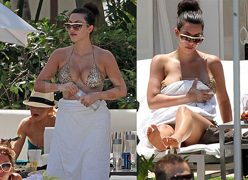 Pictures of Christina Aguilera And Kim Kardashian Wearing Bikinis in Miami