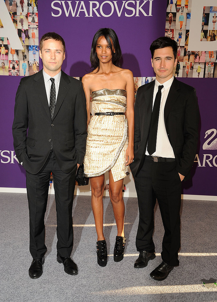 Jack McCollough and Lazaro Hernandez with Liya Kebede in Proenza Schouler