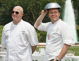 Top Chef's Tom Colicchio and New York chef Bill Telepan were among the attendees, shielding themselves from teh sun in 90-degree heat.