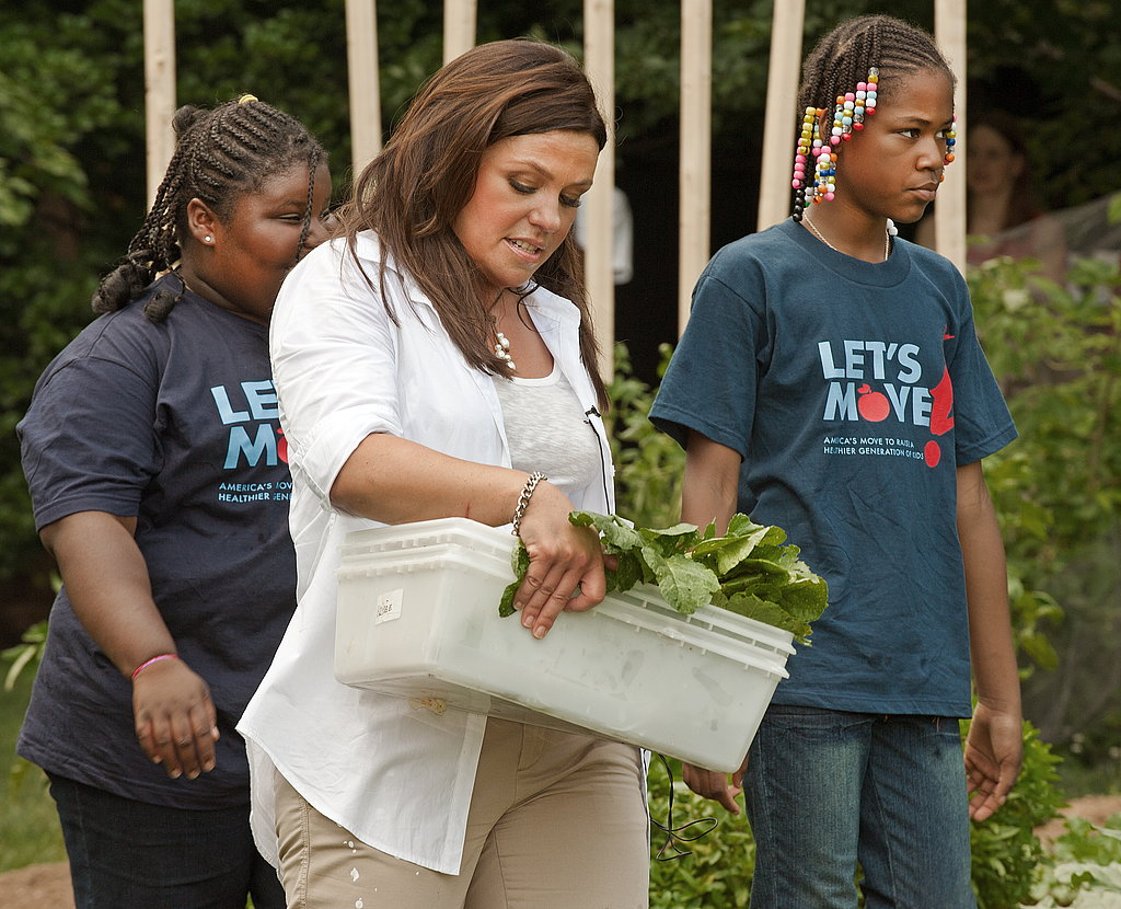 Culinary and TV personality Rachael Ray helped harvest vegetables from the White House garden.