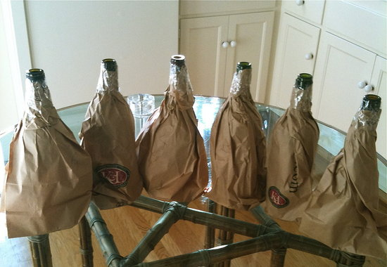 The bottles are all wrapped up and ready to go.