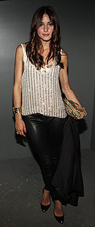 Olivia Palermo in Sequined Top and Leather Leggings at Elle Party