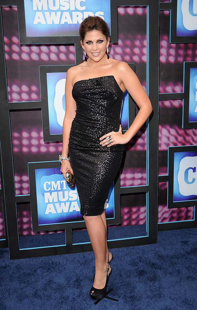 Hillary Scott in a black shimmery LBD.