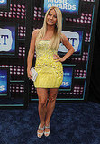 Julianne Hough in a yellow and silver mini.