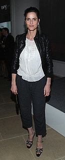 Amanda Peet Wears Cropped Pants and Leather Jacket
