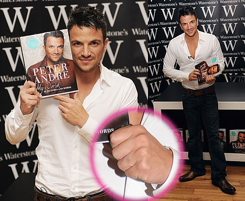 Pictures of Peter Andre Without Katie Tattoo on Wedding Ring Finger at Book Signing