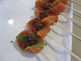 Salmon tartare skewers: yum!