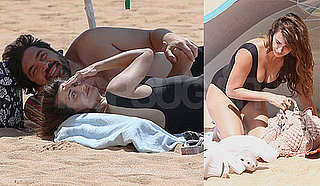 Pictures of Penelope Cruz And Shirtless Javier Bardem on a Beach Together
