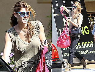 Pictures of Ashley Greene Wearing a Grommeted Shirt Leaving Her Home in LA