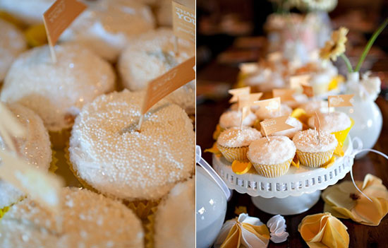 Lots of sprinkles and sparkle, sunny yellow, and frilly pedestals are a recipe for success in my book. Photo by Jennifer Rau Photography via Source
