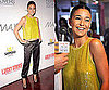 Emmanuelle Chriqui Wearing Yellow Sequined Rachel Roy Top, Silk Maggie Ward Pants, and Louis Vuitton Shoes