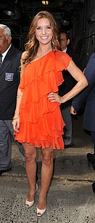 Audrina Patridge in Orange Ruffle Dress by Halston