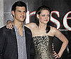 Slide Picture of Kristen Stewart and Taylor Lautner at Press Conference in Stockholm