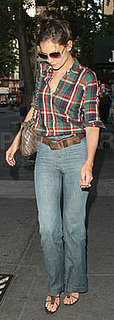 Katie Holmes Wears Plaid Shirt and Jeans in NYC