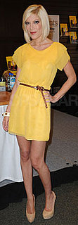 Tori Spelling Wears Yellow Dress