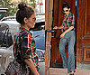 Photos of Katie Holmes in New York in Blue Flare Jeans and Checked Shirt 2010-06-22 02:30:57