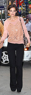 Katie Holmes Wears Sequin J Crew Top in NYC