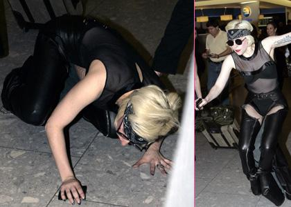 Lady GaGa Takes A Tumble at Heathrow