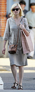 Kirsten Dunst Wears Beige Dress in Soho
