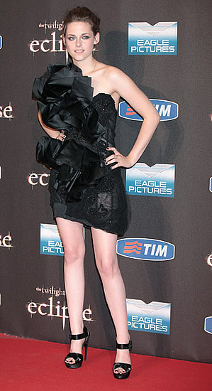 The most dramatic look the actress wore was this Marchesa at the Rome premiere. Roger Vivier platforms kept her elevated.