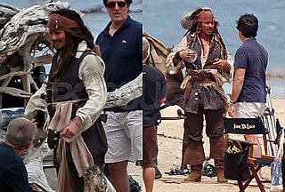 Pictures of Johnny Depp as Jack Sparrow Filming Pirates of the Caribbean 4