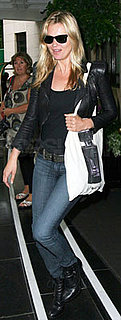 Kate Moss Wearing Lace-Up Boots and Leather Jacket
