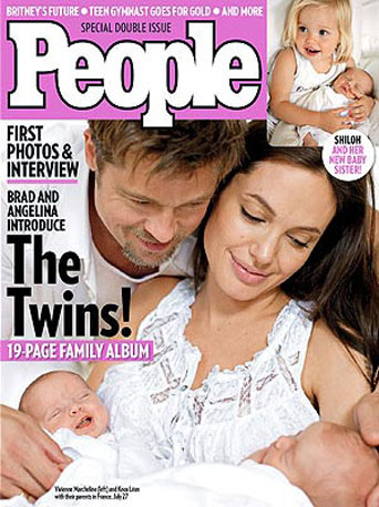 Angelina Jolie and Brad Pitt debuted their new additions with an August 2008 spread in People.