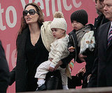 Vivienne Jolie-Pitt and Knox Jolie-Pitt showed off their pouts while out in Italy with their family in February 2010.